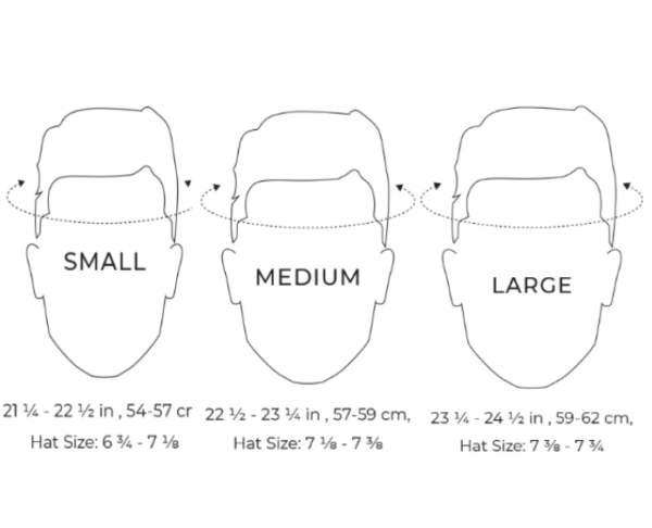 Thousand helmet size guide pencil drawings on a white background
