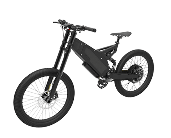 stealth electric bike, f-37 in black on white background