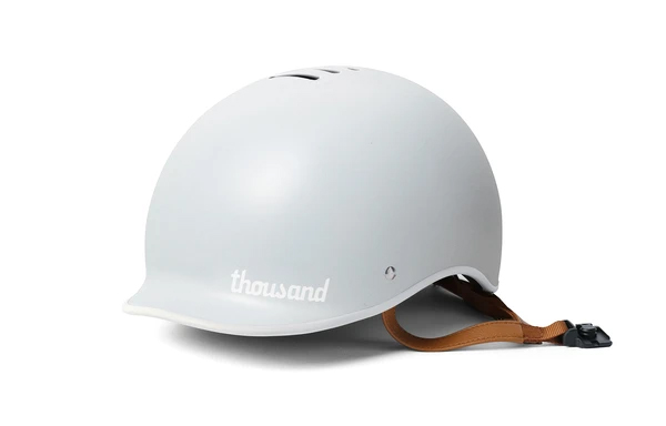 Thousand bike helmet in arctic grey on a white background